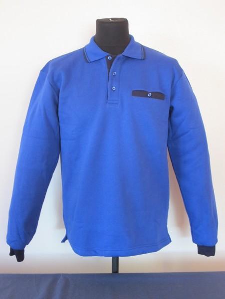 Polo-Sweatshirt Fb. kornblau/marine, Gr. M