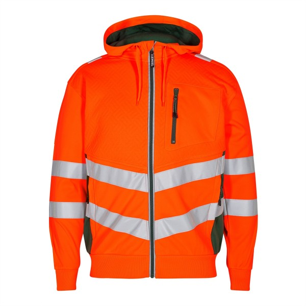 Sweatjacke Warnschutz Safety Sweatcardigan Fb. Orange/Grün, Gr. 2XL