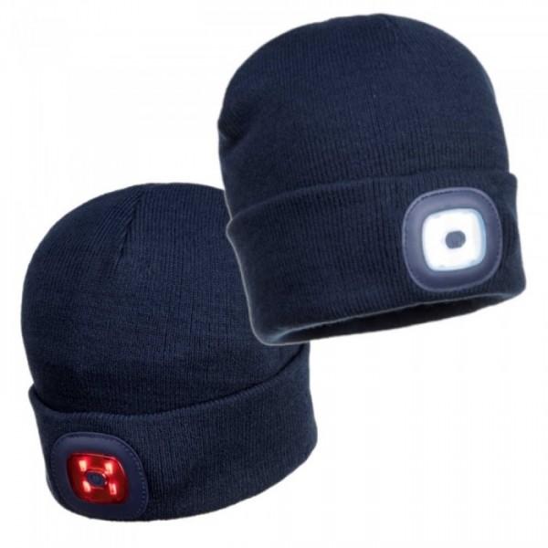 Mütze Fb. Navy mit zwei abnehmbare LED-Leuchten vorne und hinten, Einheitsgröße