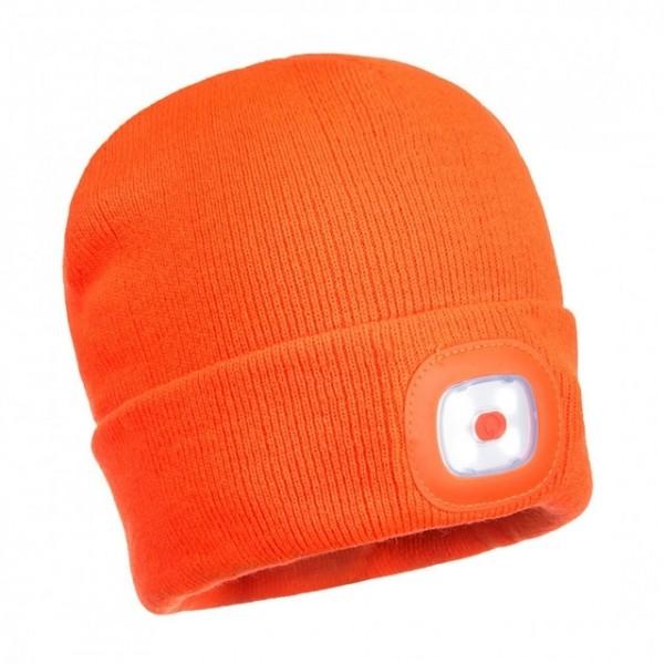 Mütze Fb. orange mit zwei abnehmbare LED-Leuchten vorne und hinten, Einheitsgröße