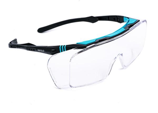 Ontor Überbrille, schwarz/türkis, klare Gläser