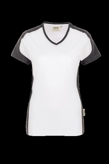 Damen-V-Shirt 2 Farbig Contrast Performance Fb. Weiß, Gr. 2XL