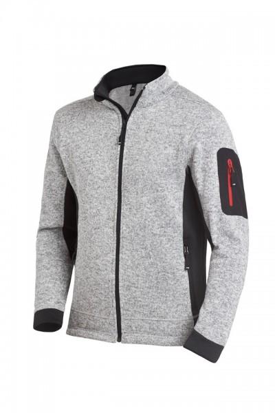 CHRISTOPH Strick-Fleece-Jacke, grau-schwarz, Gr. 2XL